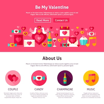 Projekt strony internetowej be my valentine. płaski wektor ilustracja na baner internetowy i stronę docelową. miłość wakacje.