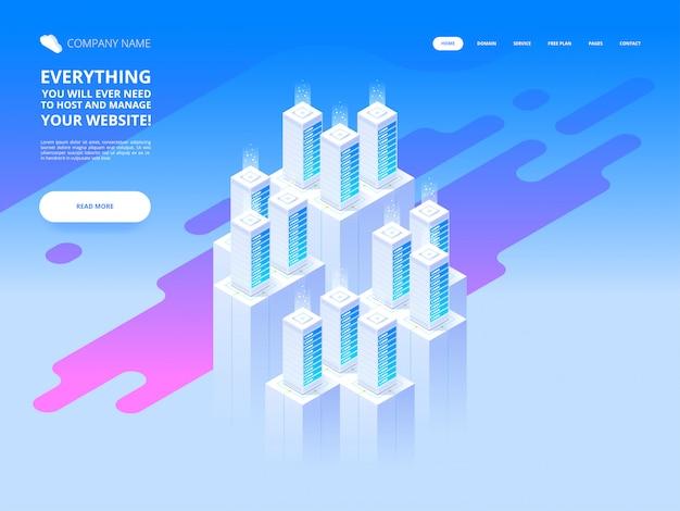 Projekt strony internetowej. duże centrum danych i technologia przechowywania w chmurze. izometryczny szablon ilustracji do projektowania i tworzenia witryn internetowych i mobilnych. koncepcja kreatywna łatwa do edycji i dostosowania