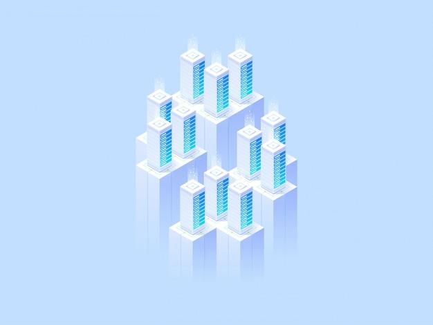 Projekt strony internetowej. duże centrum danych i technologia przechowywania w chmurze.