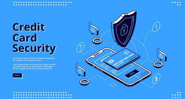Projekt strony internetowej lądowania izometryczny bezpieczeństwa karty kredytowej