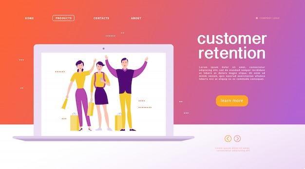 Projekt strony internetowej - motyw utrzymania klienta. kupowanie szczęśliwych ludzi z torbą sprzedaży na dużym ekranie laptopa. strona docelowa, aplikacja mobilna, szablon witryny. biznesowa ilustracja. marketing przychodzący.
