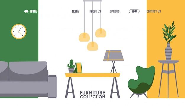Projekt strony internetowej sklepu meblowego. sklep z akcesoriami do wnętrz - szablon strony docelowej. nowoczesne meble do salonu, wygodne mieszkanie, przytulny dom