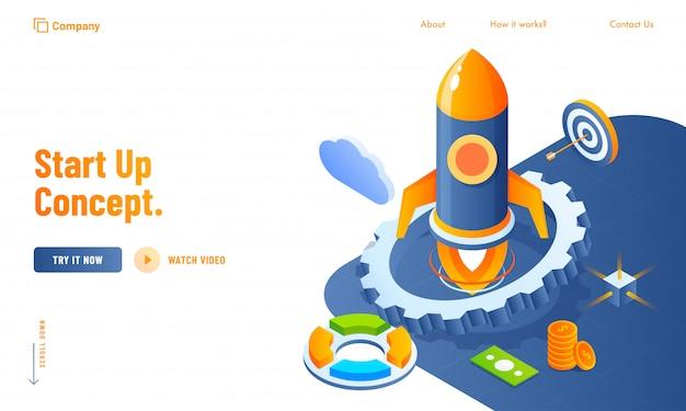 Projekt strony internetowej start up concept z elementami biznesowymi 3d, takimi jak rakieta, koło zębate, chmura i waluta