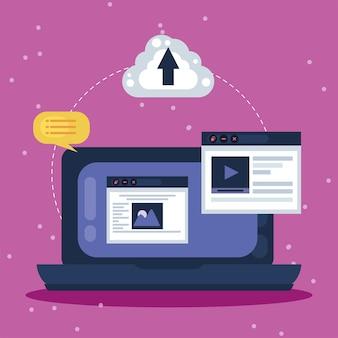 Projekt strony internetowej z laptopem