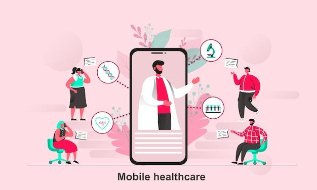 Projekt strony mobilnej opieki zdrowotnej w płaskim stylu z postaciami małych ludzi