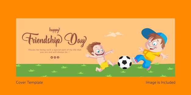 Projekt strony tytułowej szczęśliwego dnia przyjaźni ilustracja stylu cartoon