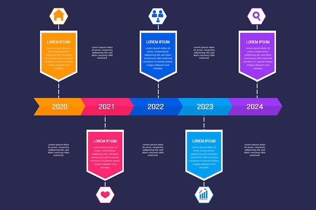 Projekt strzałki osi czasu dla infografiki tekstu