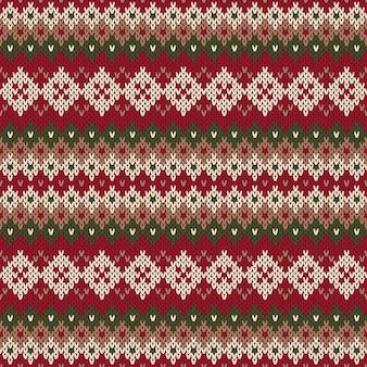 Projekt świątecznego swetra. wzór z dzianiny w tradycyjnym stylu fair isle