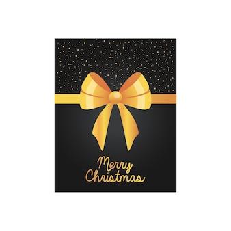Projekt świątecznej czarnej eleganckiej karty z ozdobną złotą kokardką na białym tle.