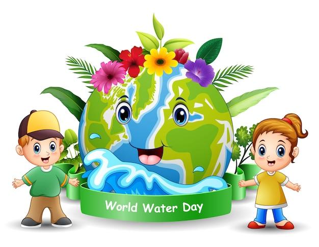 Projekt światowego dnia wody ze szczęśliwymi dziećmi stojącymi