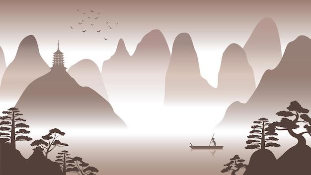 Projekt sylwetki chińskiej scenerii przyrody ze sztuką komputerową