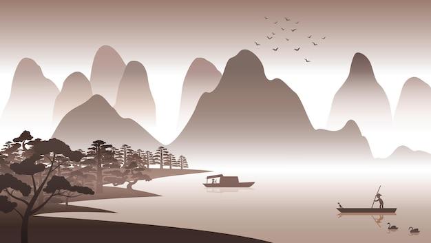 Projekt sylwetki chińskiej scenerii przyrody