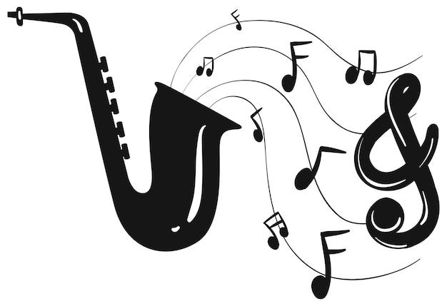 Projekt sylwetki na saksofon i notatki