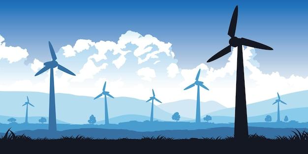 Projekt sylwetki pola turbin z ilustracją w kolorze niebieskim