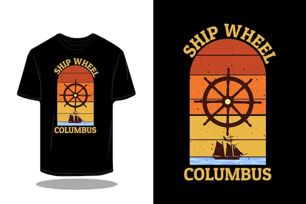 Projekt sylwetki retro koła statku columbus