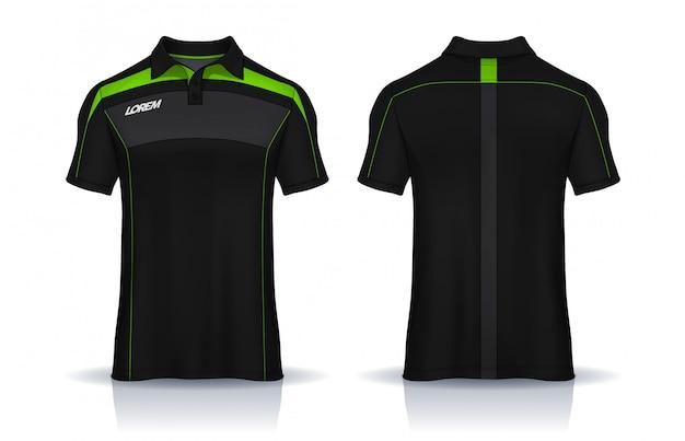 Projekt szablonów koszulki polo. jednolity widok z przodu i tyłu.
