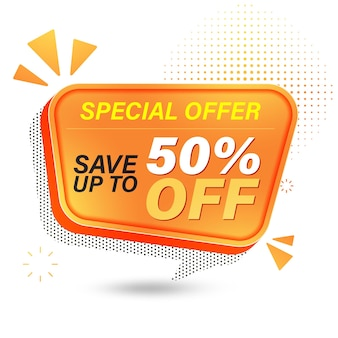 Projekt szablonu banera sprzedaży, oferta specjalna sprzedaży zaoszczędź do 50%.