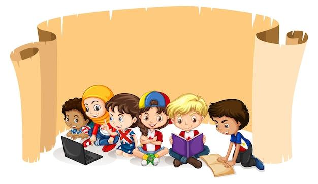 Projekt szablonu banera z uczącymi się dziećmi