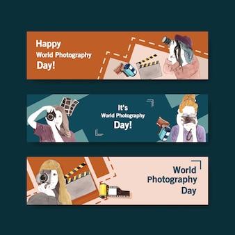 Projekt szablonu banera ze światowym dniem fotografii na reklamę i broszurę
