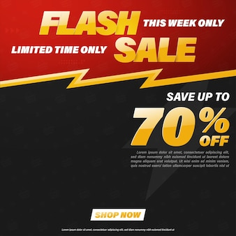 Projekt szablonu baneru sprzedaży flash dla sieci web lub mediów społecznościowych.