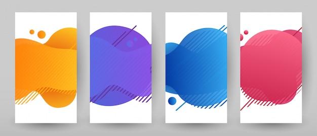 Projekt szablonu banery z abstrakcyjnym płynnym kolorze. zestaw promocyjny flash sprzedaż
