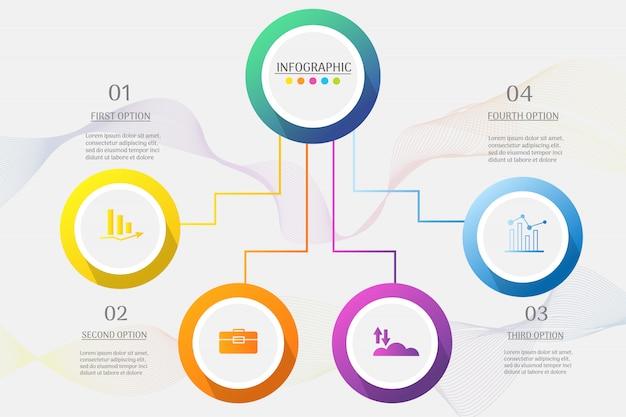 Projekt szablonu biznes 4 opcje lub kroki infographic element wykresu.