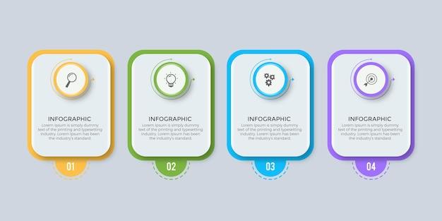 Projekt szablonu biznesowego infografiki z 4 opcjami lub krokami