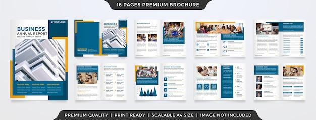 Projekt szablonu broszury a4 z nowoczesnym i minimalistycznym wykorzystaniem koncepcji dla rocznego raportu biznesowego i propozycji