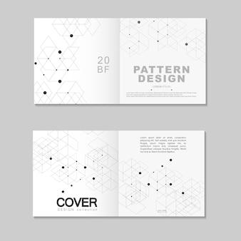 Projekt szablonu broszury. abstrakt łączy sieć wielokątną z kropkami i liniami