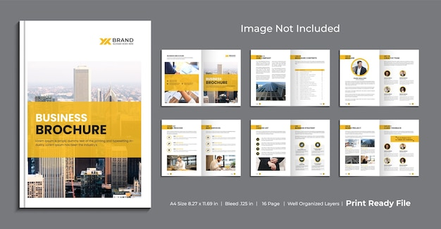 Projekt szablonu broszury biznesowej, minimalistyczny projekt szablonu broszury wielostronicowej