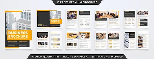 Projekt szablonu broszury biznesowej z nowoczesnym i minimalistycznym wykorzystaniem koncepcji dla profilu biznesowego i propozycji