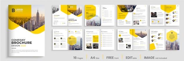 Projekt szablonu broszury korporacyjnej firmy z żółtymi kolorami kształtów