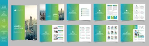 Projekt szablonu broszury na stronach profilu nowoczesnej firmy z gradientowymi kształtami