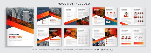 Projekt szablonu broszury profilu firmy lub projekt szablonu broszury firmy w kolorze pomarańczowym