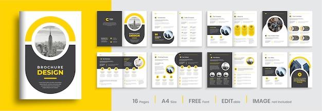 Projekt szablonu broszury profilu firmy z żółtymi kształtami minimalistyczny korporacyjny układ broszury wielostronicowej