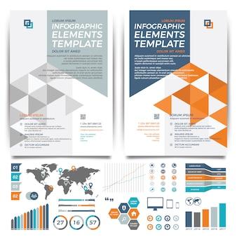 Projekt szablonu broszury. układ okładki i infografiki.