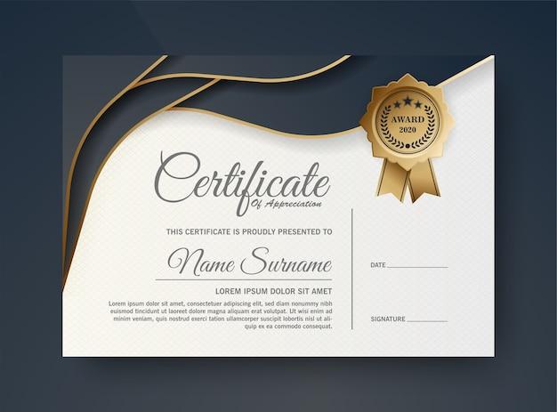 Projekt szablonu certyfikatu ciemny niebieski i złoty