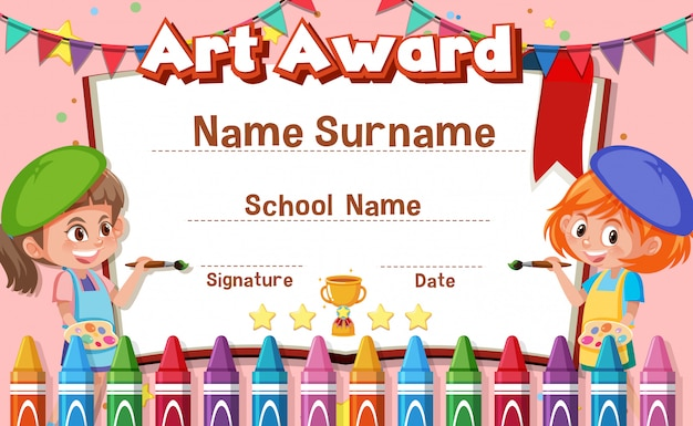 Projekt szablonu certyfikatu dla nagrody artystycznej z dziećmi malującymi w tle