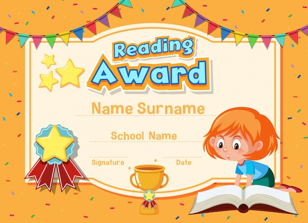 Projekt szablonu certyfikatu do czytania nagrody z dziewczyną czytanie książki