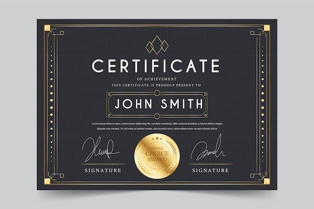 Projekt szablonu certyfikatu uznania
