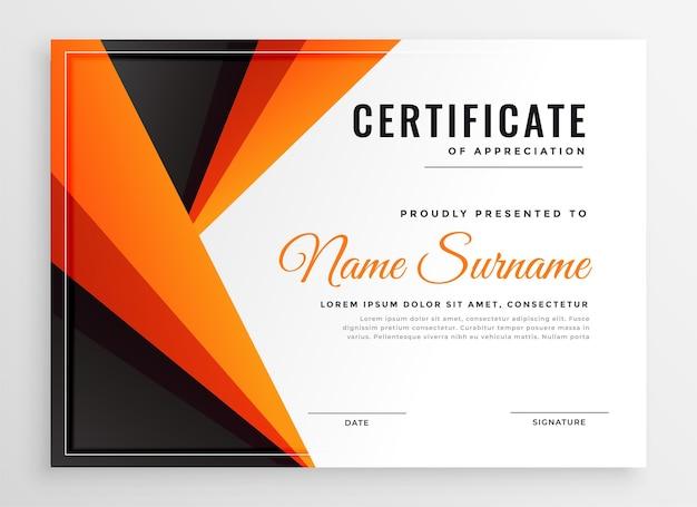 Projekt szablonu certyfikatu wielofunkcyjnego dyplomu pomarańczowy