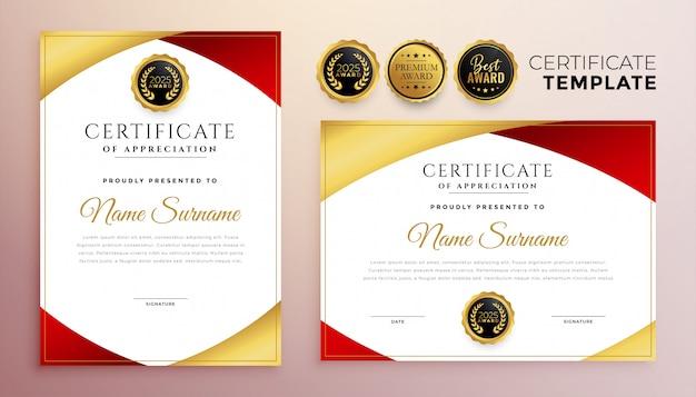 Projekt szablonu certyfikatu wielofunkcyjnego w kolorze czerwonym i złotym