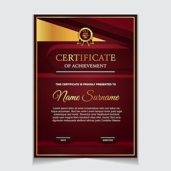 Projekt szablonu certyfikatu z czerwonymi i luksusowymi nowoczesnymi kształtami