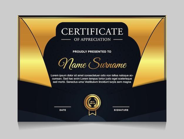 Projekt szablonu certyfikatu z granatowymi i złotymi luksusowymi nowoczesnymi kształtami