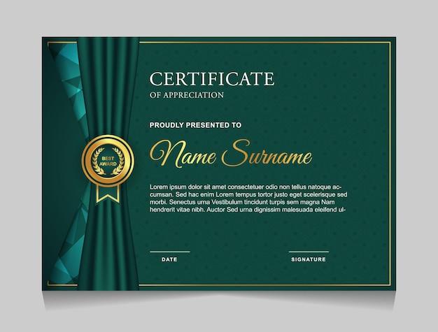 Projekt szablonu certyfikatu z luksusowymi nowoczesnymi kształtami
