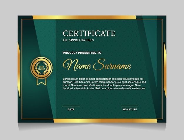 Projekt szablonu certyfikatu z zielonymi i złotymi luksusowymi nowoczesnymi kształtami