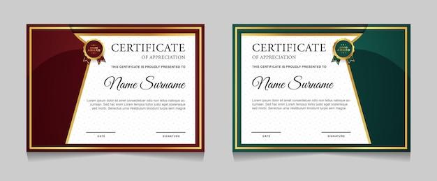 Projekt szablonu certyfikatu ze złotymi, luksusowymi, nowoczesnymi kształtami