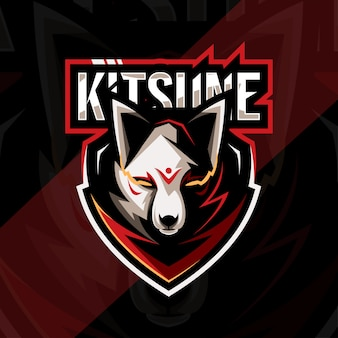 Projekt szablonu e-sportowego logo maskotki głowy kitsune