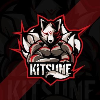 Projekt szablonu e-sportowego logo maskotki kitsune