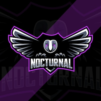 Projekt szablonu e-sportowego logo maskotki ptaka nocturnal owl